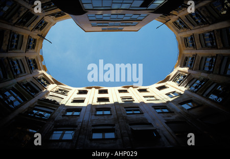 Barcelona Casa Mila View of the sky from the inner oval courtyard - Stock Photo