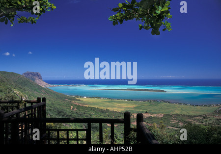 Spectacular view from a balcony of the sea off the coast of Mauritius Indian Ocean - Stock Photo