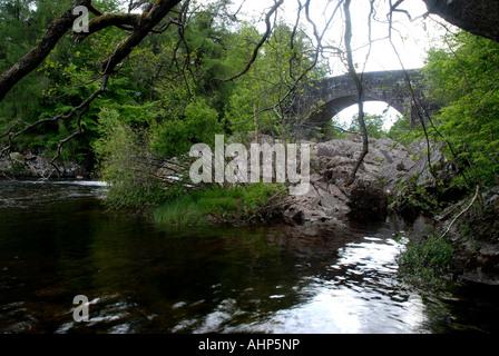 Bridge of Balgie, Glen Lyon, Perthsire and Kinross, Scotland - Stock Photo