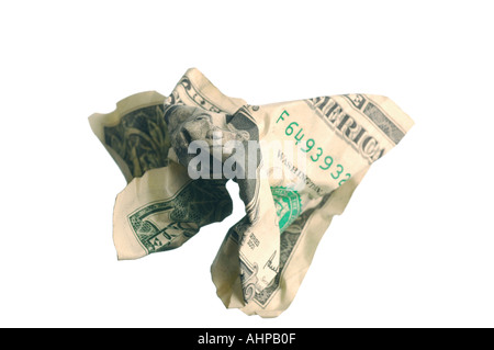 Dollar Bill US Currency note with white background and shadow - Stock Photo