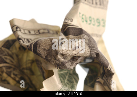 Dollar Bill US Currency note with white background and shadow depth of field view - Stock Photo