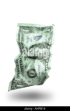 Money Dollar Bill US Currency note with white background and shadow - Stock Photo
