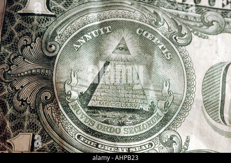 The back of a US One dollar bill detail with white background Old Money - Stock Photo