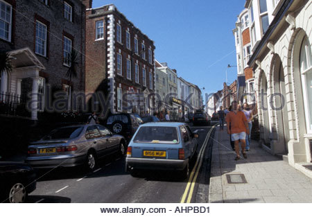 Traffic in Lewes Sussex UK - Stock Photo