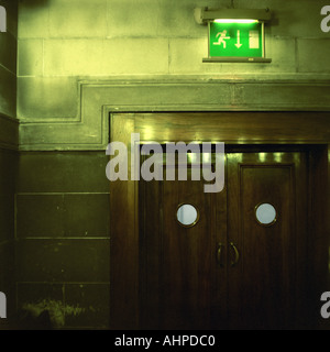 Exit doors in Sheffield Town Hall England - Stock Photo