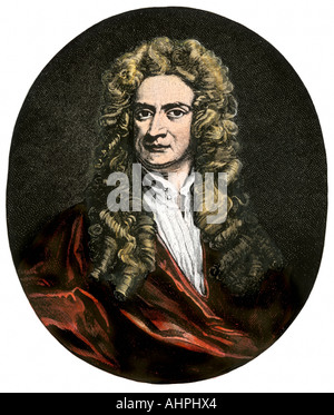 Sir Isaac Newton. Hand-colored woodcut - Stock Photo