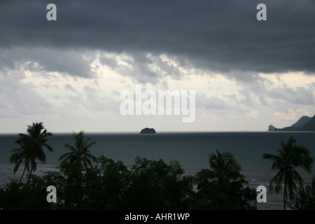 dark clouds forming over krabi main land and islands - Stock Photo