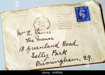Handwritten letter dated March 20 1947 with 2 5pence stamp King George VI reign - Stock Photo