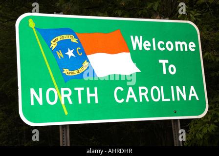 Welcome to North Carolina Sign USA - Stock Photo