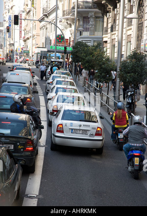 Traffic on Via Gran in Madrid - Stock Photo
