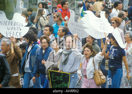 Marchers protesting US intervention In El Salvador Los Angeles California - Stock Photo