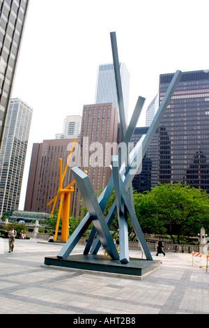 Sculpture on the Tribune Plaza. Chicago Illinois IL USA - Stock Photo