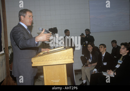 George W Bush speaking at Presidential Youth Forum at Anselm College NH January 2000 - Stock Photo