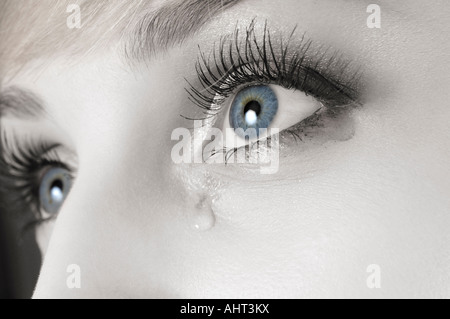 Blue tearful female eye with makeup running - Stock Photo