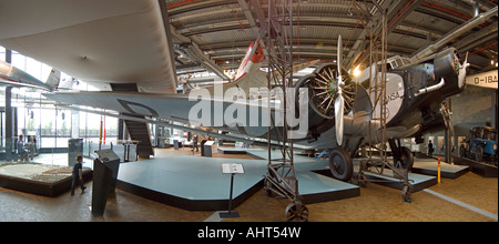 The Junkers Ju 52 - one of the exhibits in the Deutsches Technikmuseum - German Museum of Technology. - Stock Photo