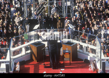 Bill Clinton 42nd President gives Inaugural Address on Inauguration Day 1993 Washington DC - Stock Photo
