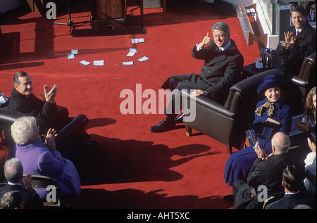 Bill Clinton 42nd President gives the thumbs up on Inauguration Day 1993 Washington DC - Stock Photo
