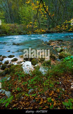 Colorful small river Curak in Zeleni vir park near Skrad in Croatia - Stock Photo