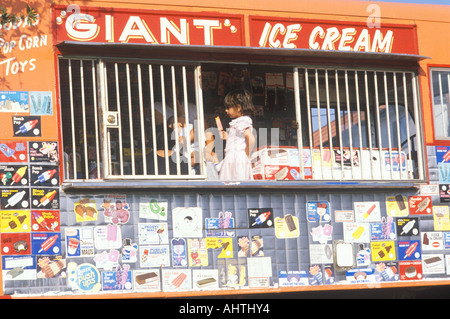 A sign that reads giant ice cream - Stock Photo