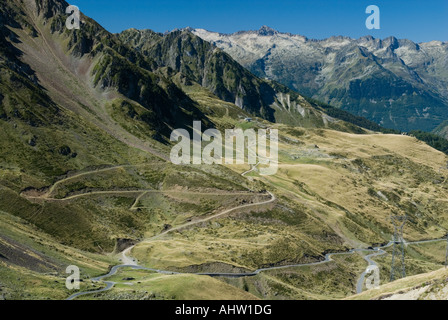 Twisty roads in French Pyrenees, view from Col du Tourmalet pass. - Stock Photo