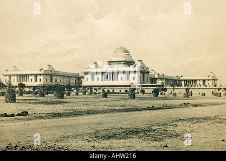 Old antique vintage print of Rashtrapati House Delhi India - Stock Photo