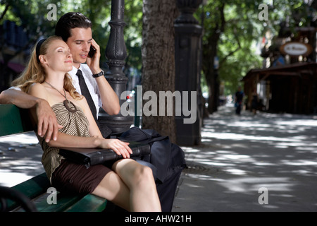 Couple outdoors embracing . - Stock Photo