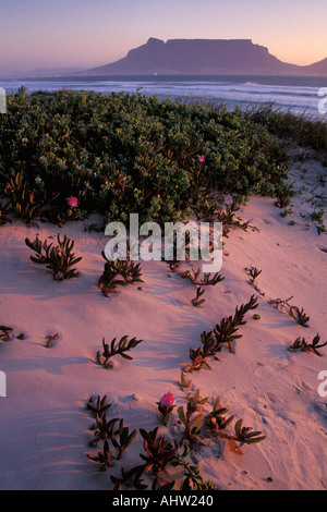 South Africa, Western Cape, Table Mountain at dusk from Bloubergstrand - Stock Photo