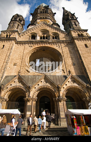 Vertical wide angle of the front entrance of the semi derelict Kaiser Wilhelm Memorial Church, aka the Hollow Tooth. - Stock Photo
