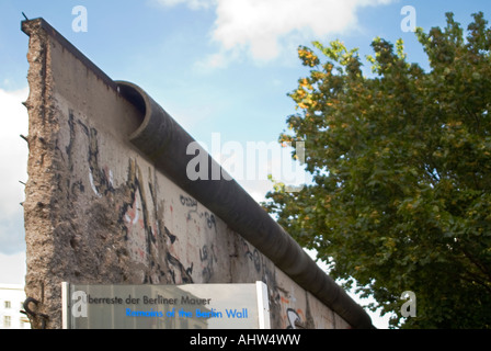 Horizontal view of a remaining section of the Berlin Wall in its original location at the Topographie des Terrors - Stock Photo