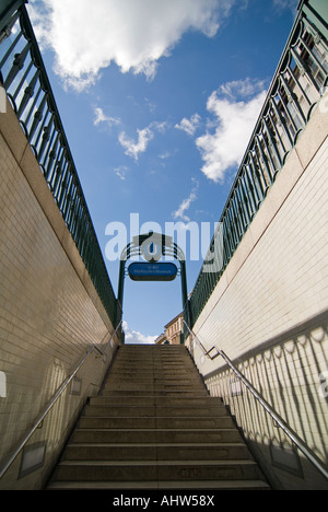 Vertical wide angle of the entrance of Markisches Museum underground station looking up on to the street on a bright - Stock Photo