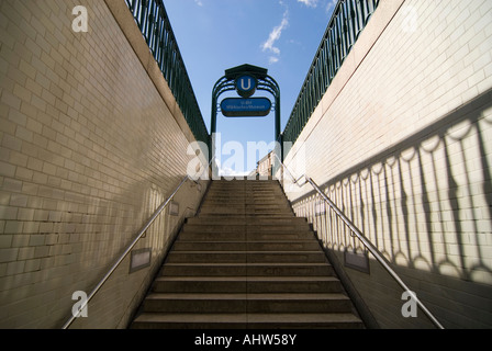 Horizontal wide angle of the entrance of Markisches Museum underground station looking up on to the street on a - Stock Photo