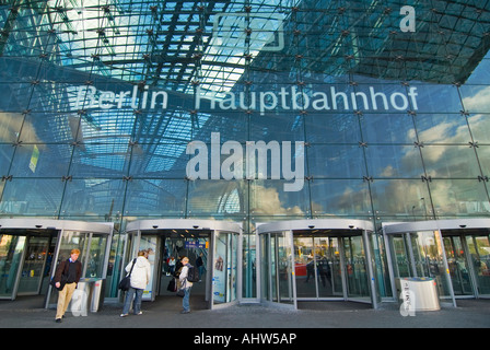 Horizontal wide angle of the modern glass front entrance of Berlin Hauptbahnhof 'Berlin Central Station'. - Stock Photo