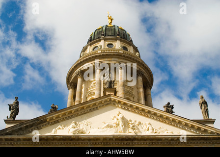 Horizontal view of the domed roof and decorative tympanum of the Franzosischer Dom 'French Cathedral' in Berlin - Stock Photo