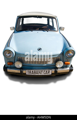 Vertical view of a vintage Trabant car, aka Trabbi or Trabi, on a white background. - Stock Photo