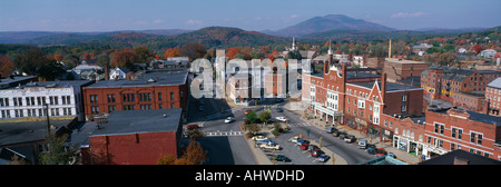 This is a panorama view from the Bell Tower in Claremont It shows a typical scene from small town America The buildings - Stock Photo