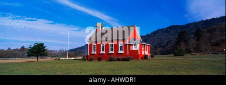 This is the Stone Lagoon School House It is a one room school house It is painted a bright red with white trim on - Stock Photo