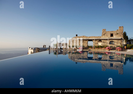 The infinity pool of the Hotel Caruso in Ravello, Italy, taken in the early morning sunrise - Stock Photo