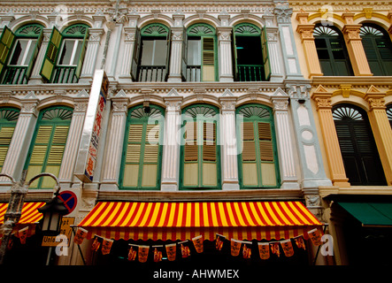 architecture, facade of building, facade, building, structure, Trengganu Street, Chinatown District, Singapore, - Stock Photo