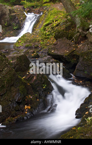 Overlooked Falls at Porcupine Mountains State Park with fall color in Michigan s Upper Peninsula - Stock Photo