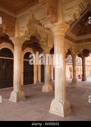 Amber Jaipur Pillars of Diwan E Am or Hall of Public Audience inside the Amber Fort complex - Stock Photo
