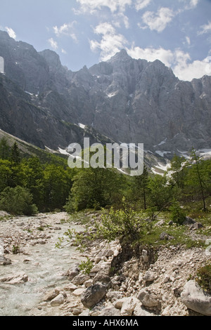 Bistrica River in Vrata valley with north face of Mount Triglav mountain summit beyond in Triglav National Park - Stock Photo
