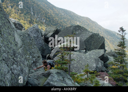 Hiking on the King Ravine during the early autumn months Located in the White Mountains New Hampshire USA - Stock Photo