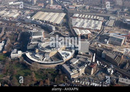 High level oblique aerial view north east of BBC Television Centre White City London W12 England UK January 2006 - Stock Photo