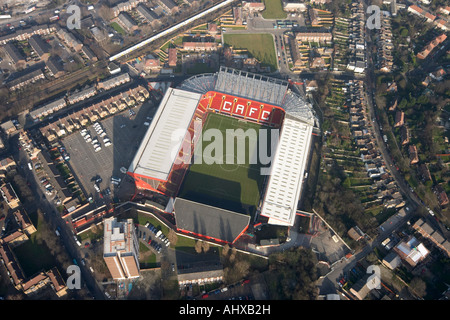 High level vertical aerial view down of Charlton Athletic Football Club Valley Ground London SE7 England UK January - Stock Photo