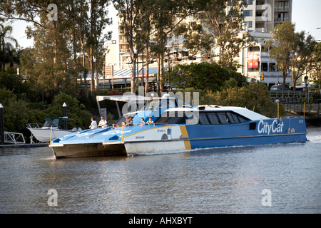 CityCat catamaran ferry on the Brisbane River in Brisbane Queensland QLD Australia - Stock Photo