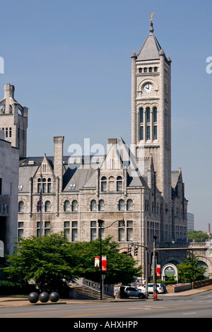 The old Union Station building on Broadway,Nashville,Tennessee,USA - Stock Photo
