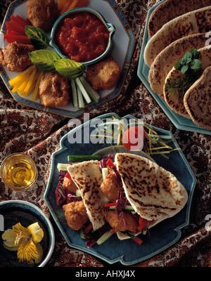 Israeli falafel pakoras dipping sauce editorial food - Stock Photo
