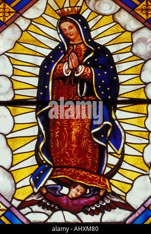 stained glass, stained glass image, Virgin of Guadalupe, La Casa de la Marquesa, Santiago de Queretaro, Queretaro, - Stock Photo