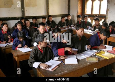 Bhutan education Haa Valley Bitekha Lower Secondary school students in class - Stock Photo