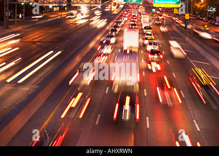Blurred motion shot of traffic on highway